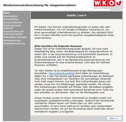 WKO-Mindestumsatzberechnung Schritt 1