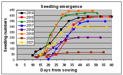Graph of seedling emergence from crosses made in 2013, 2014 and 2015