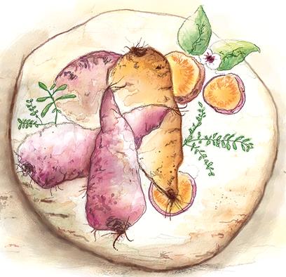 Illustration von vier Süßkartoffeln auf einem runden Holzbrett