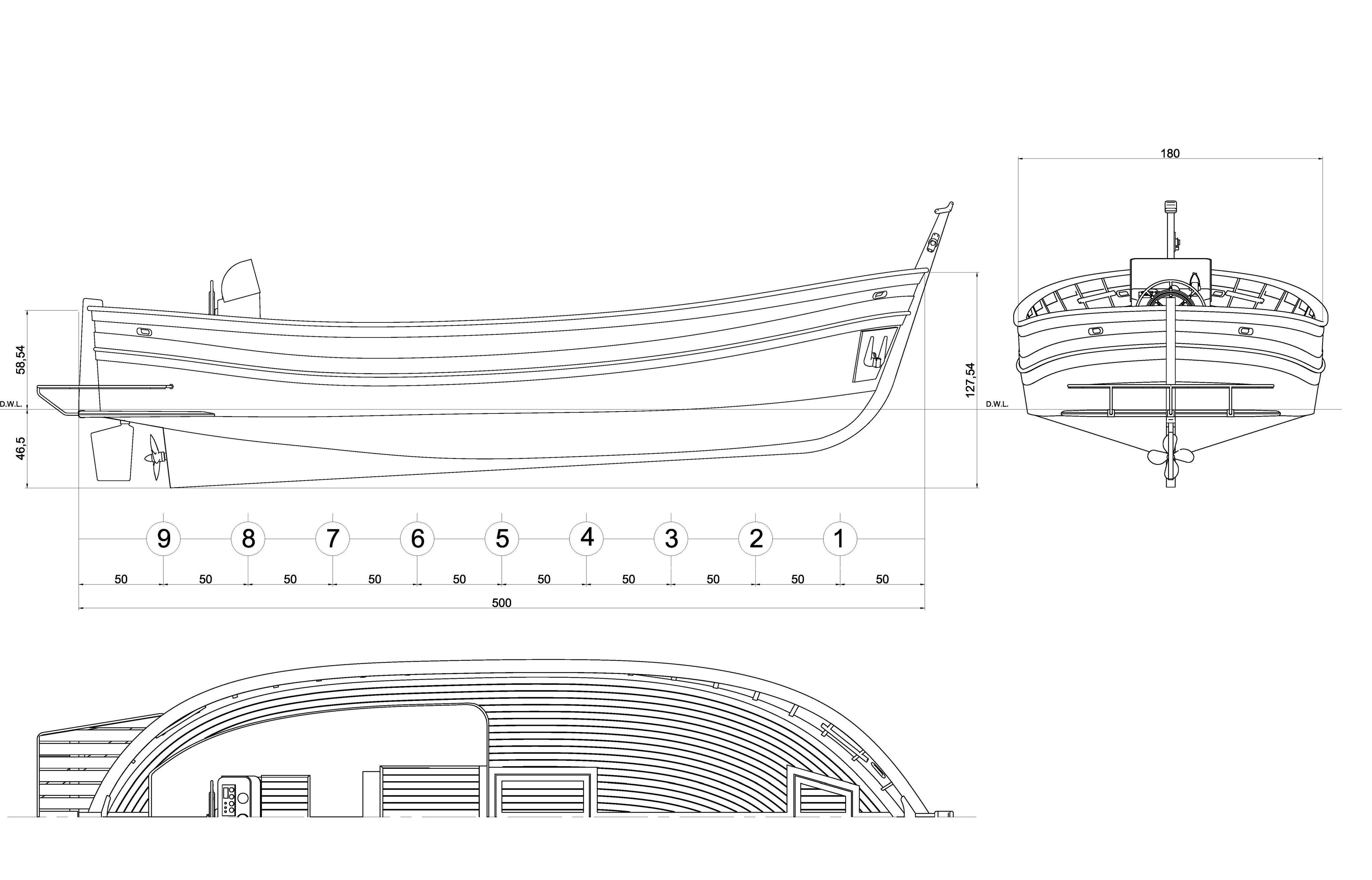 Gozzo planante santa margherita modellismo navale for 3 piani di piani a schiera di 3 piani