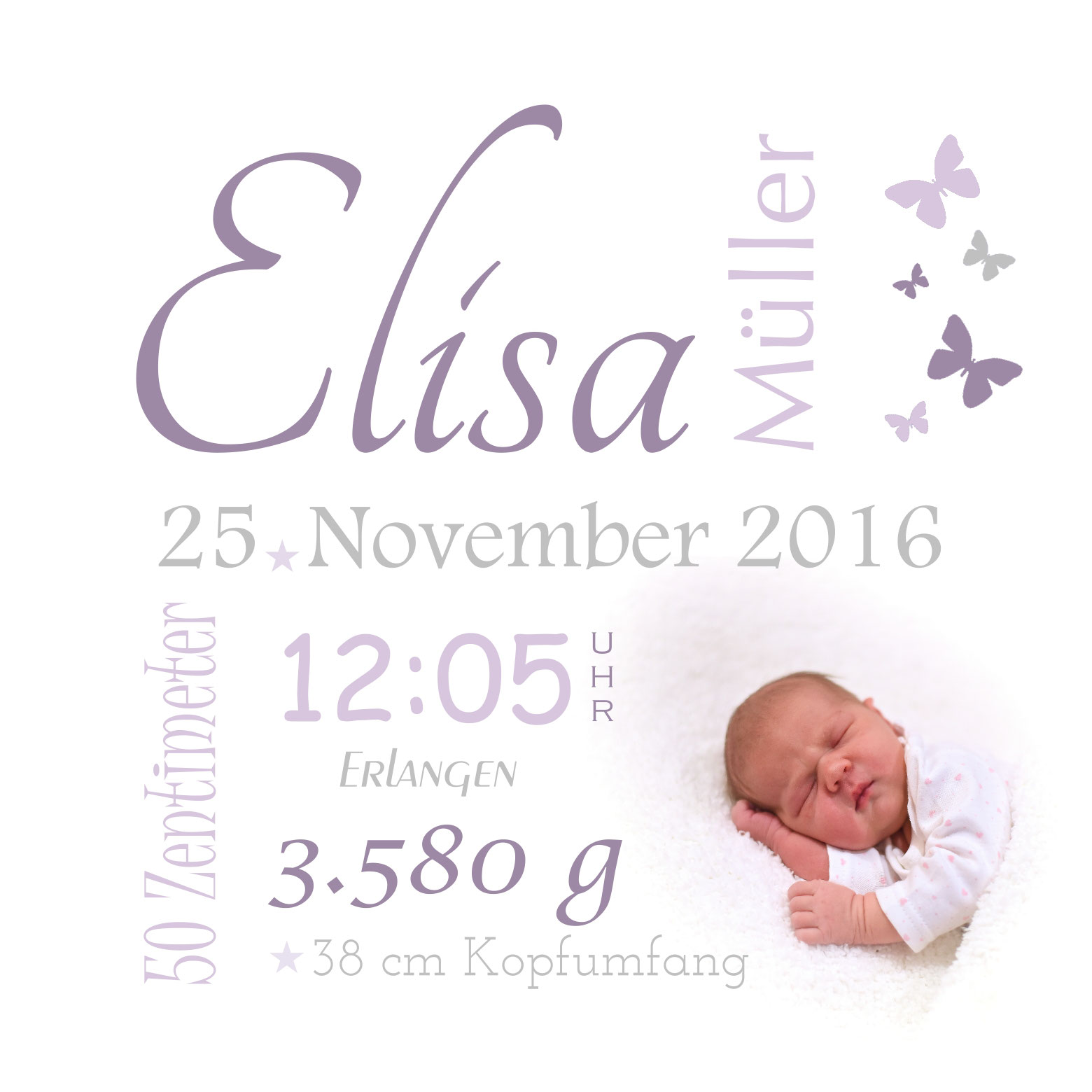 Geburtsdatenwandbild Star Shoot