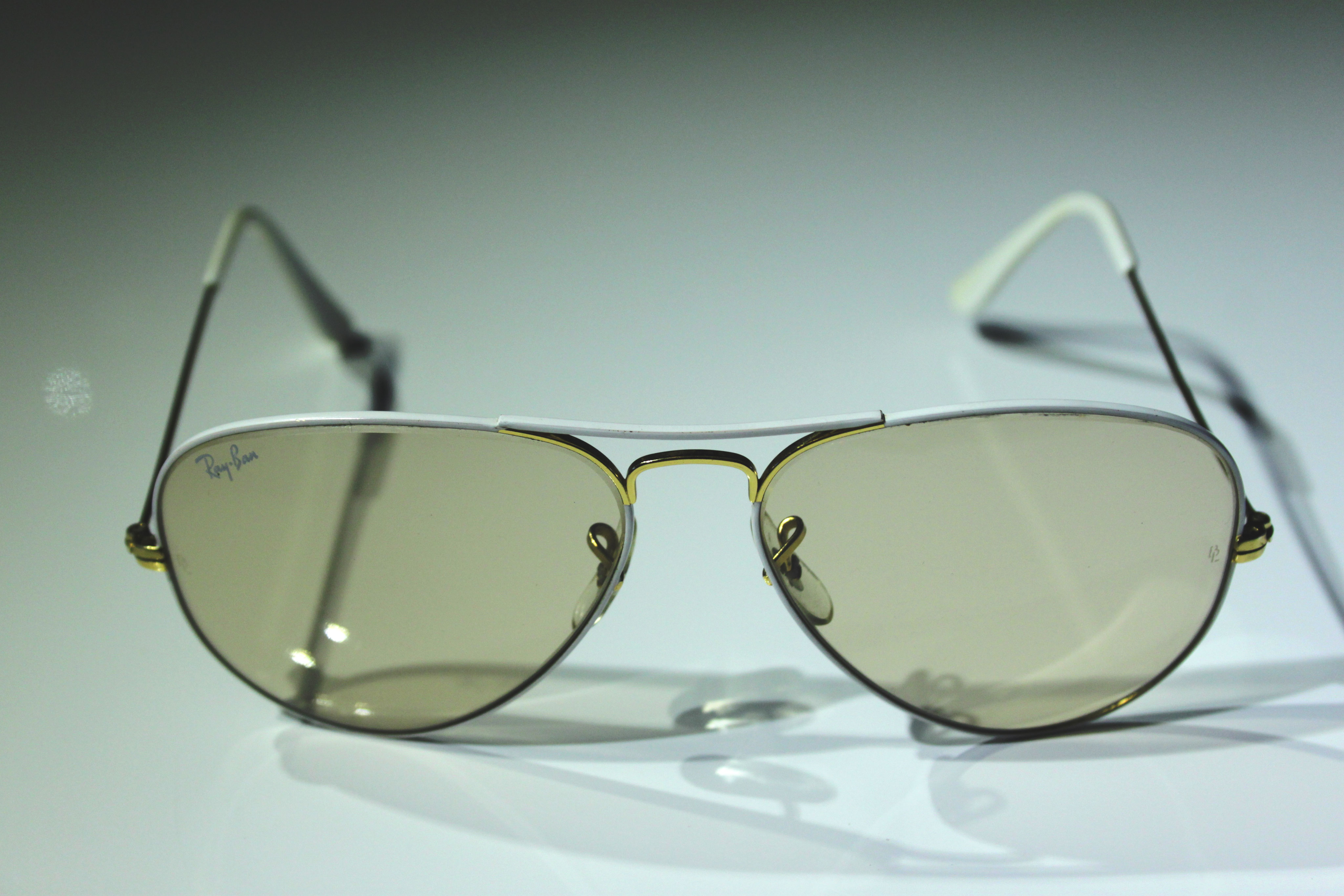 88b5bbfedd Large Metal I Flying Colors White - Vintage Ray Ban Sunglasses by Bausch  and Lomb