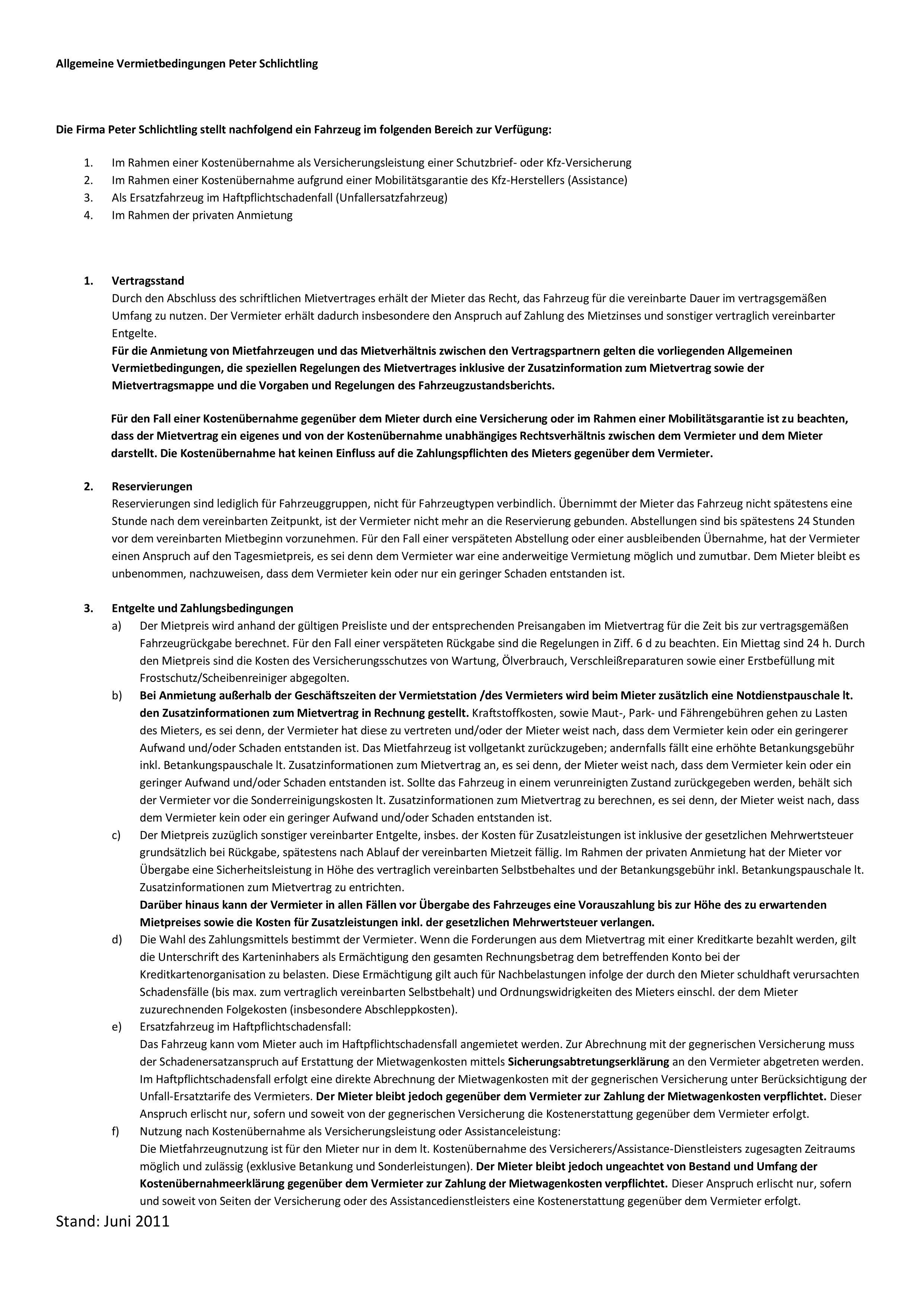 Allgemeine Vermietbedingungen - Firma Peter Schlichtling