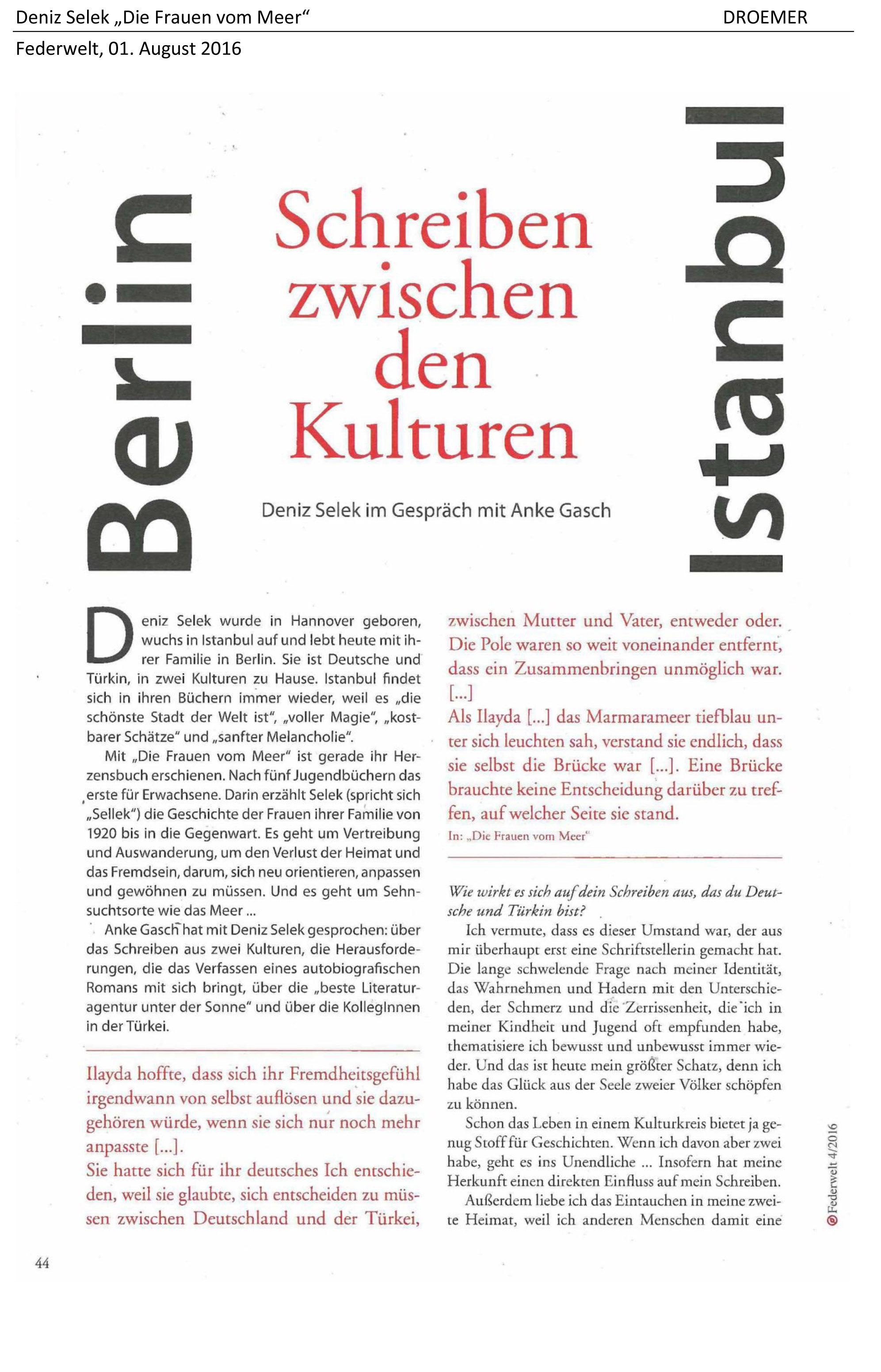 November 2017 - Interview mit Katis Buecherwelt - Deniz Selek,  Schriftstellerin