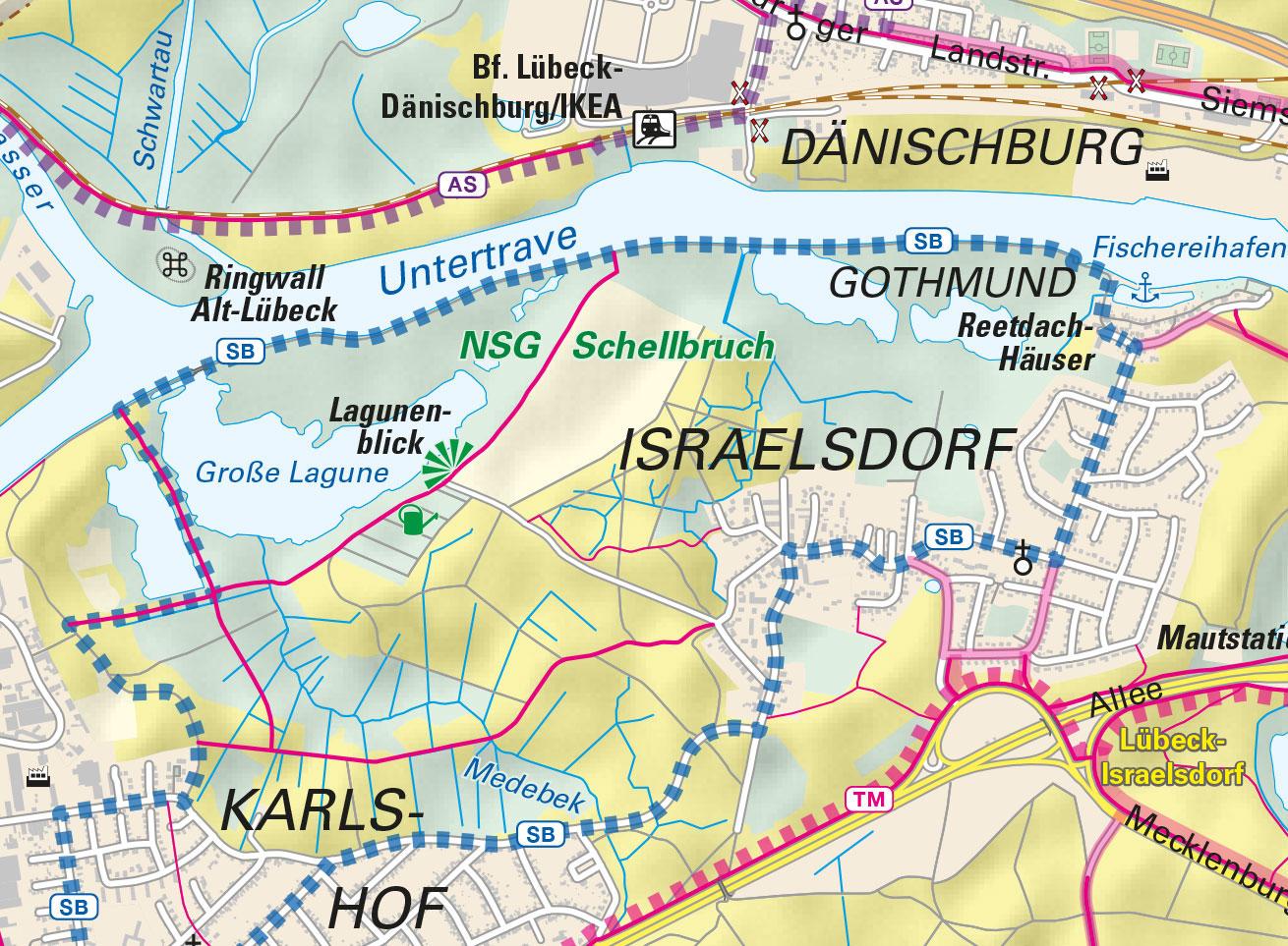 Karte Lübeck.Bike Map Lübeck Kalimedia Der Verlag Für Besondere Karten
