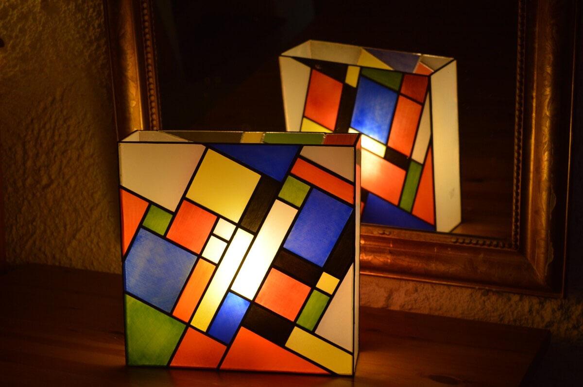 Lampe art deco vitrail lampe tiffany art déco new york bleue et