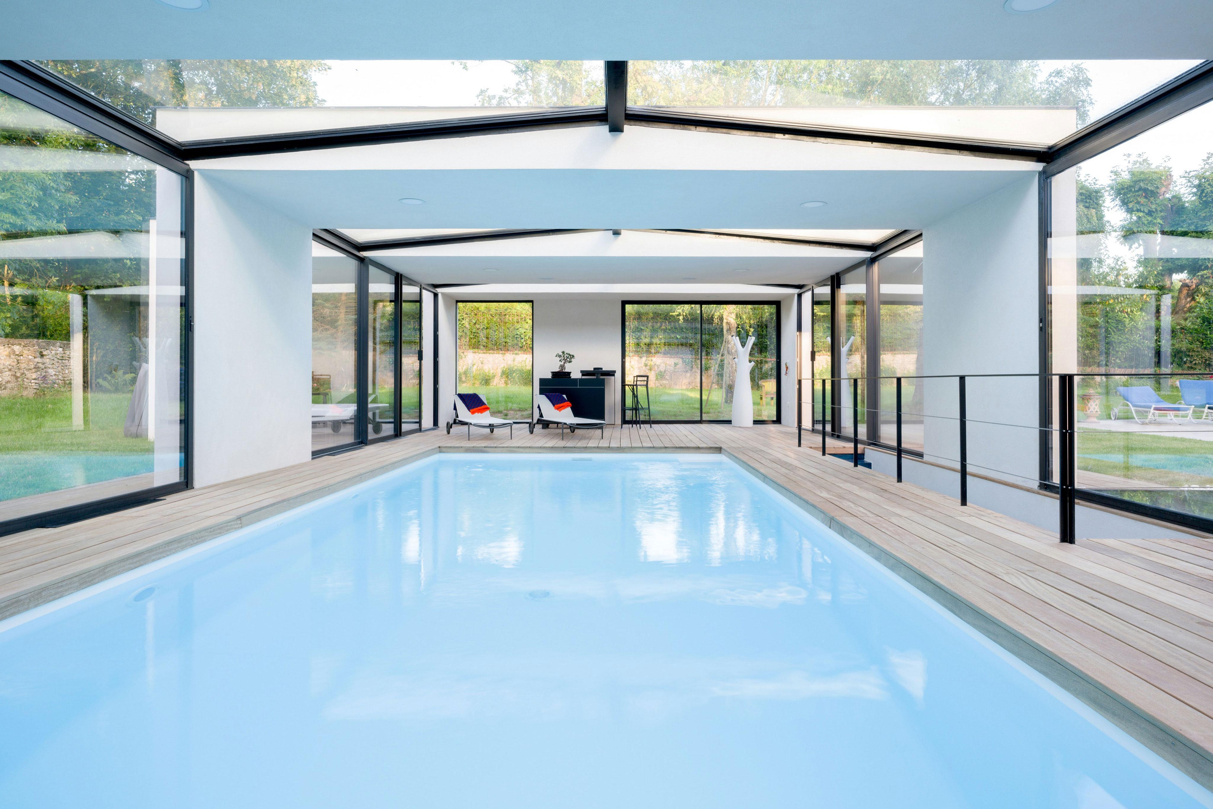 Extension Maison Piscine Couverte piscine couverte & spa à orgeval - skp architecture
