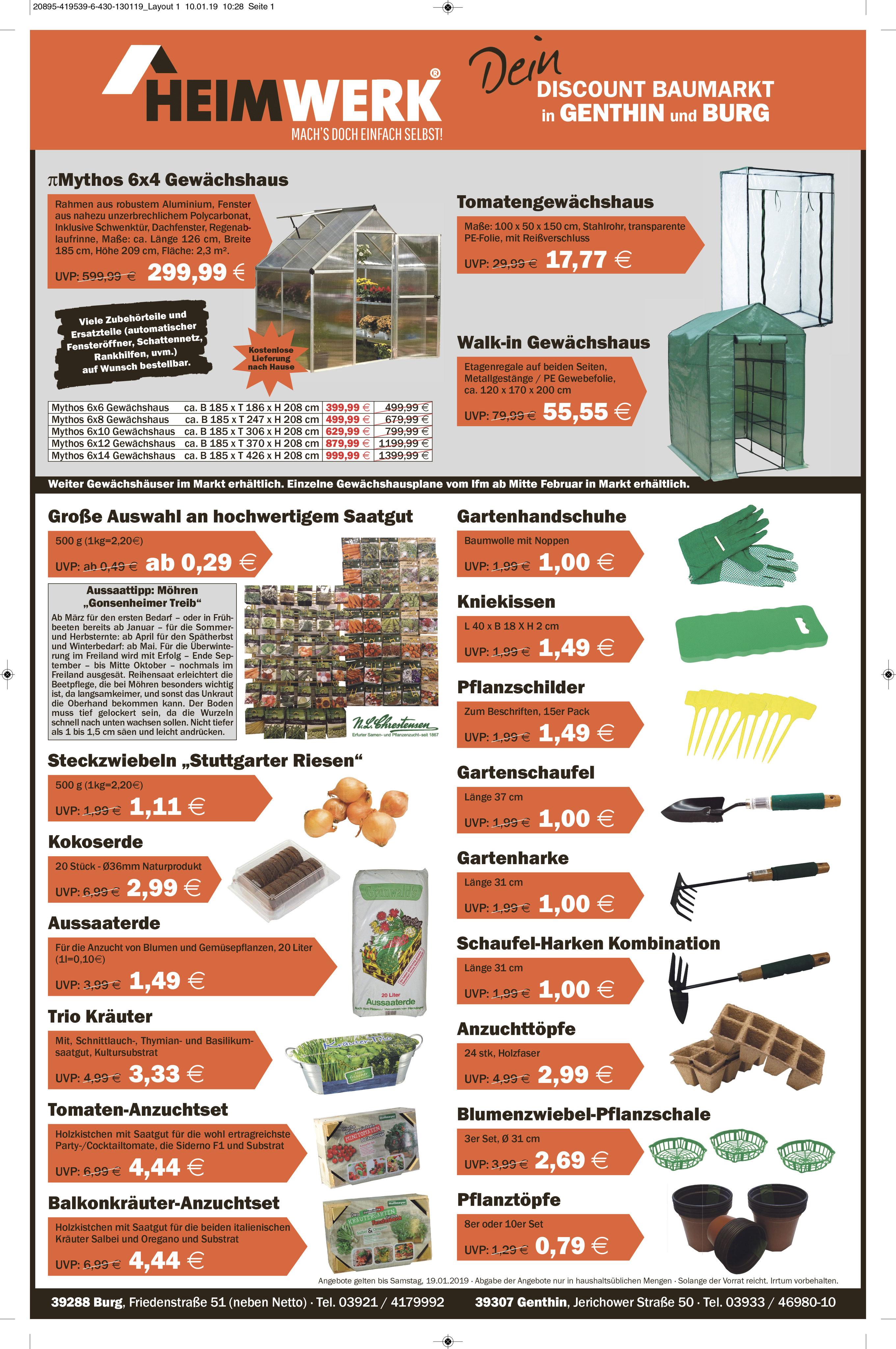 Angebote 12012019 19012019 Heimwerk Discount Baumarkt