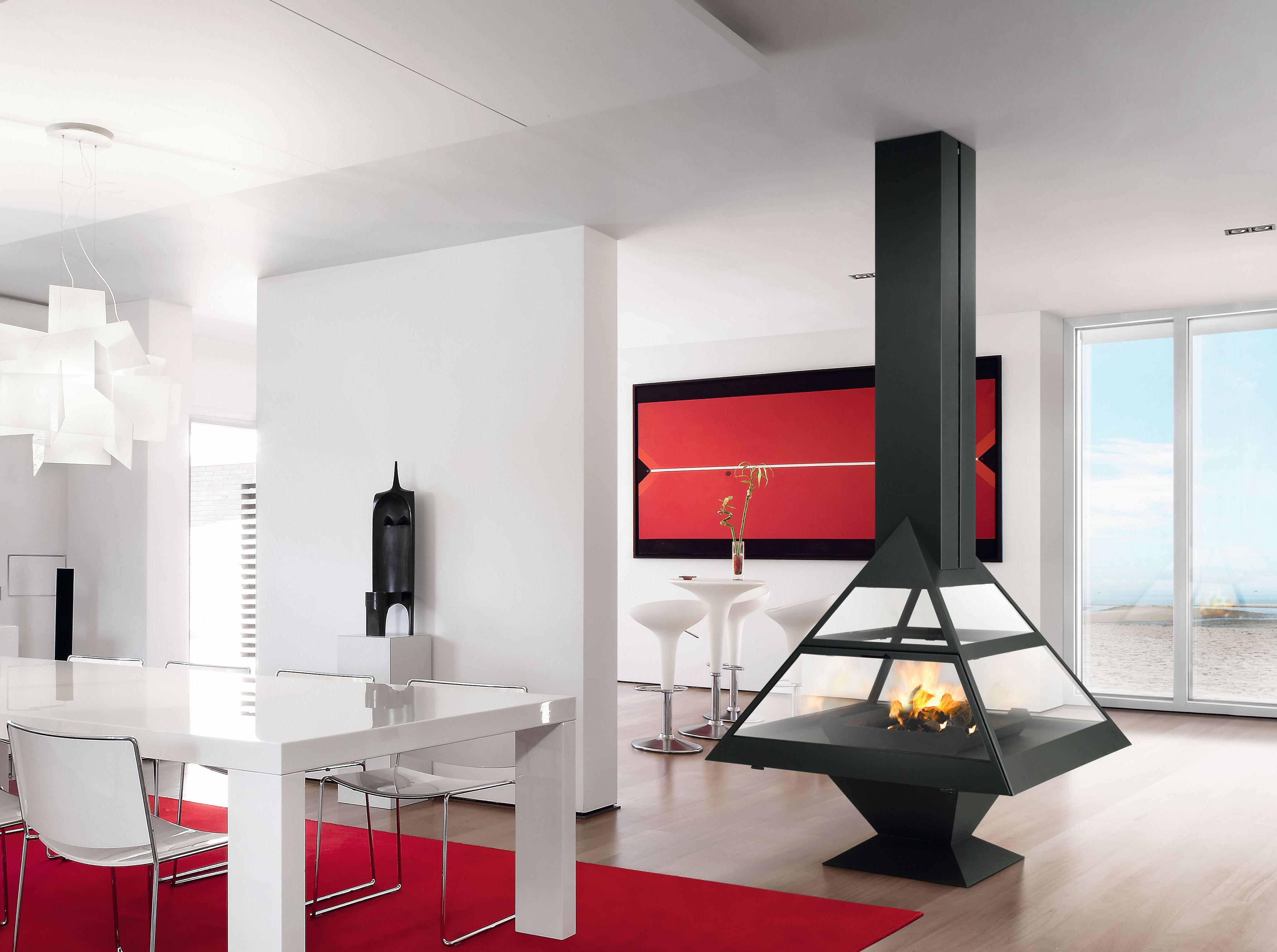 po les granul s design chemin es suspendues centrales. Black Bedroom Furniture Sets. Home Design Ideas