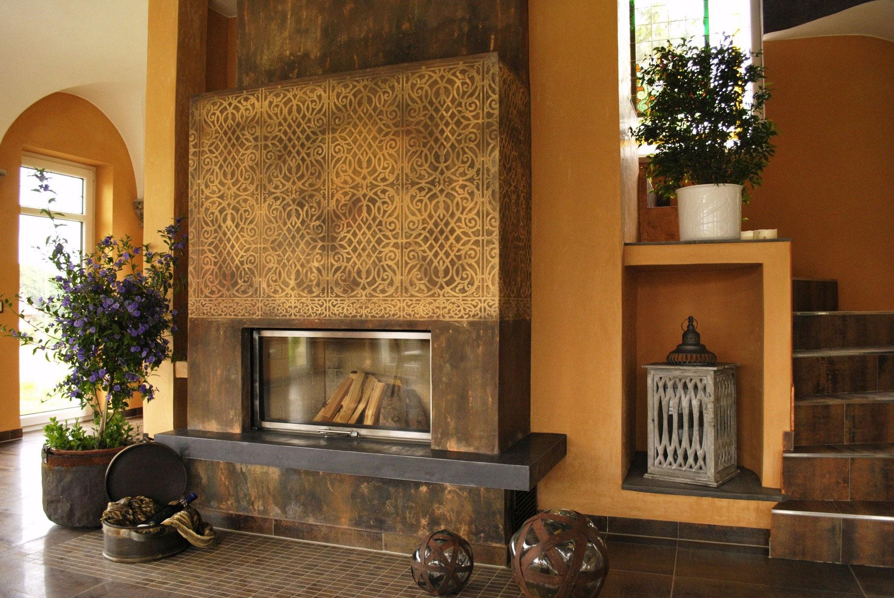 Kamin Design Wandgestaltung - stucco-decor - Kreative Spachteltechnik und Wandgestaltung