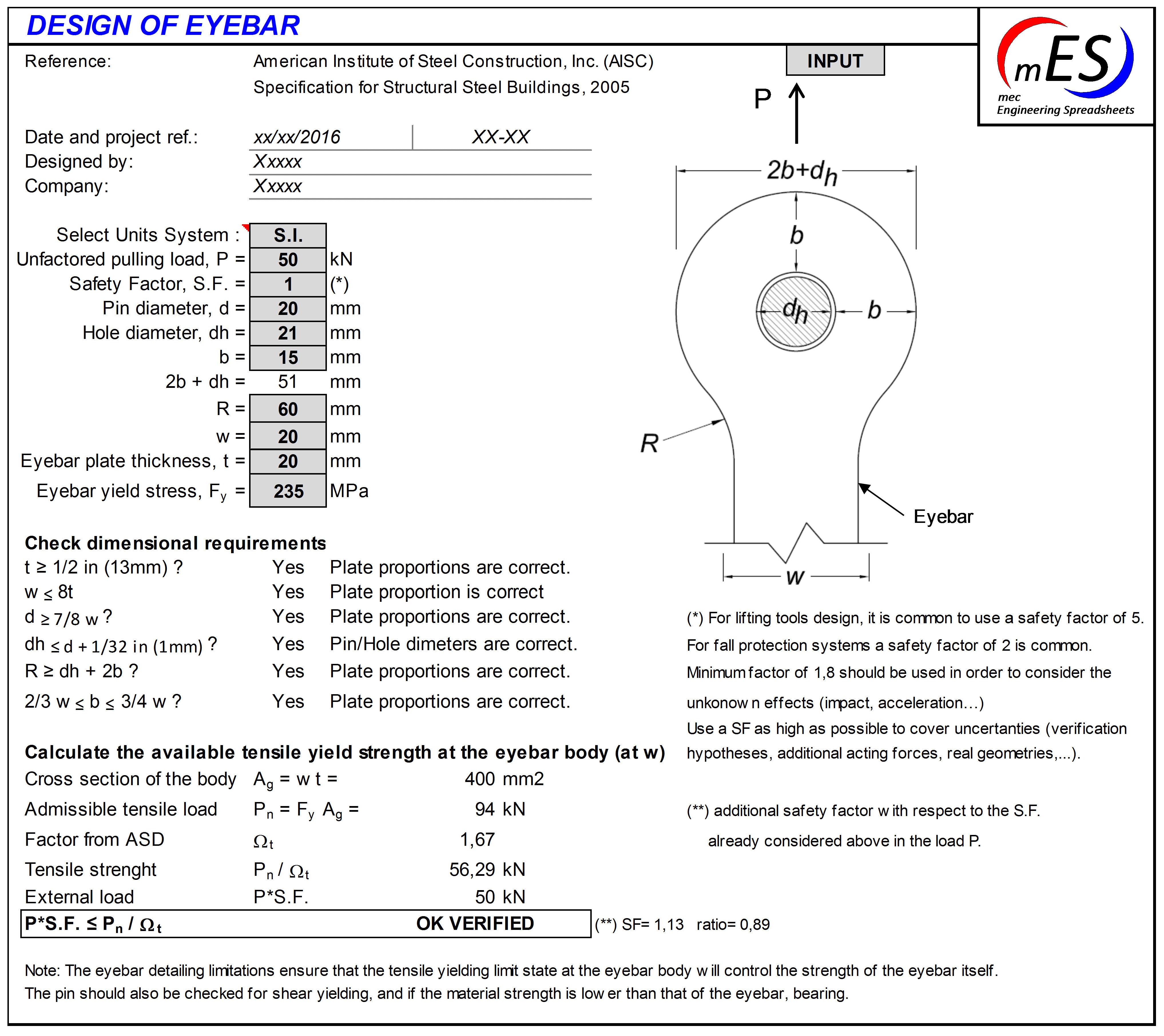 Eyebar design - mec Engineering Spreadsheets
