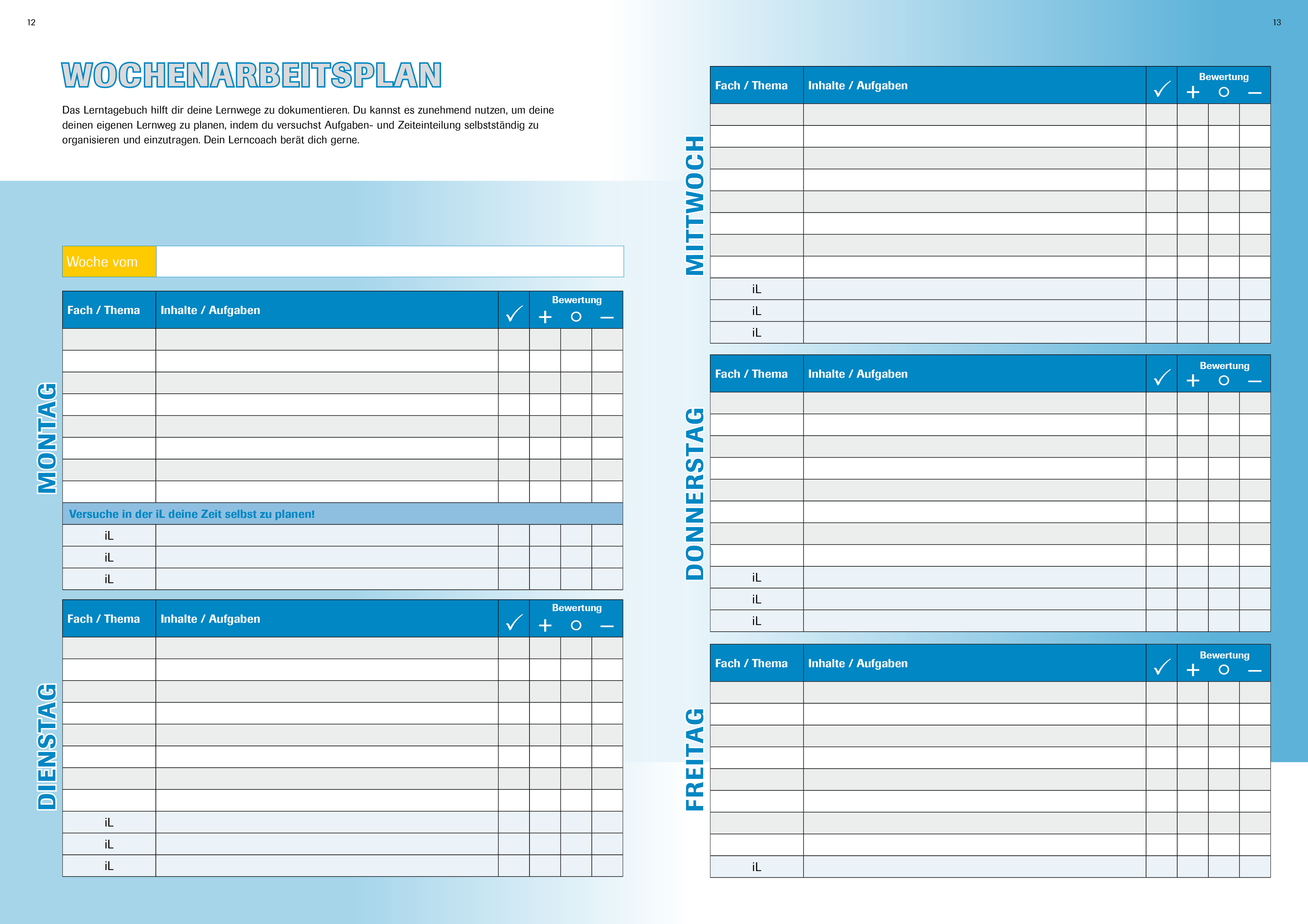 Lerntagebuch gestalten - Lerntagebuch individuell für Ihre Schule ...
