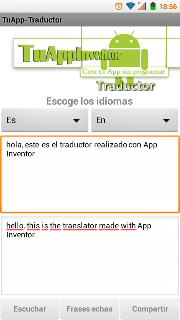 Traductor Android realizado con App Inventor 2 - Tu App