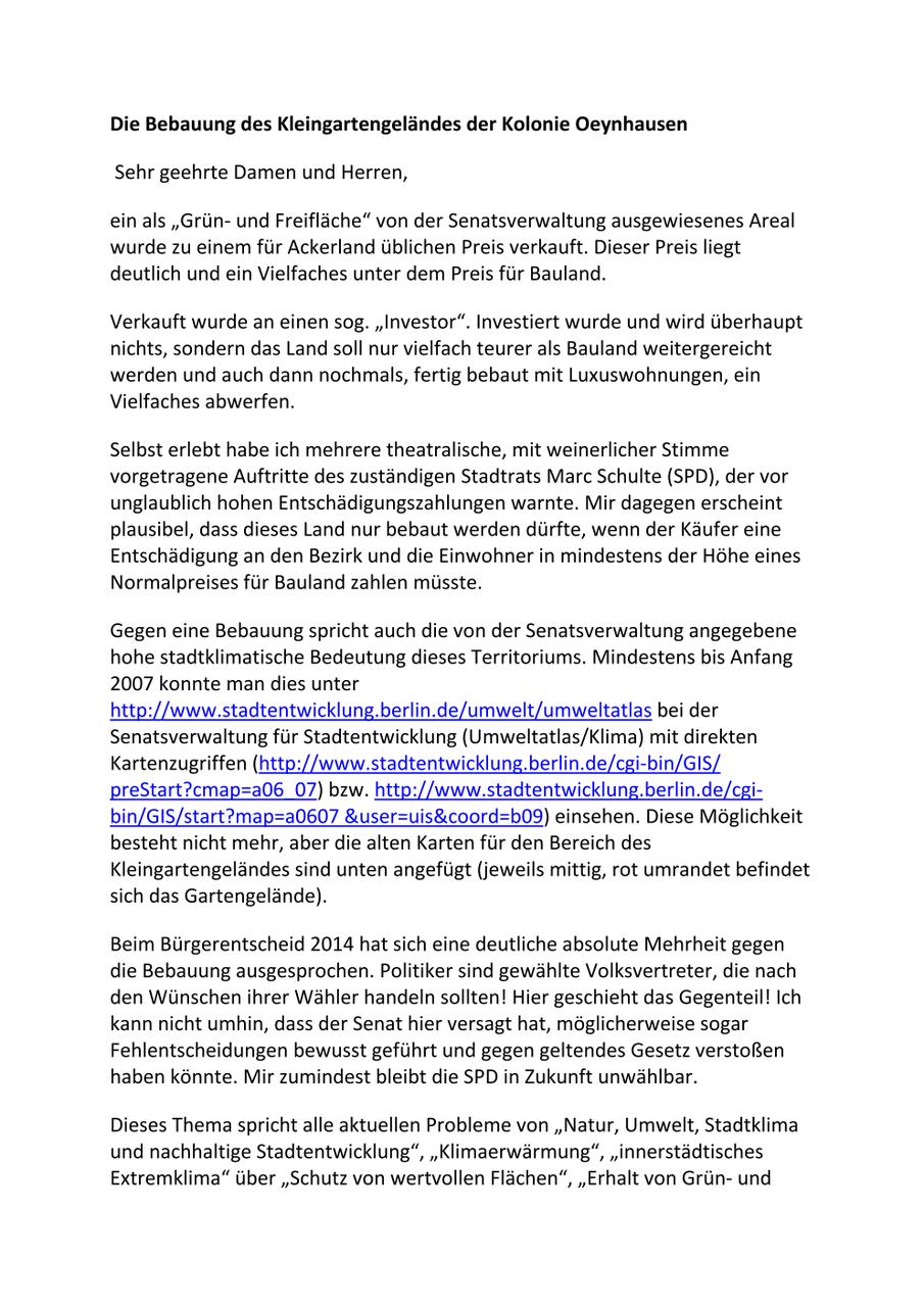 Briefe An Die Bezirkspolitik Kleingärtnerverein Oeynhausen