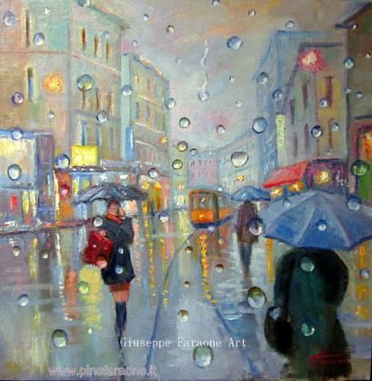 Milano pioggia, dipinto Faraone Giuseppe
