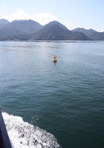 ... L'île de Miyajima se profile