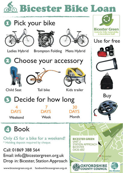 A poster advertising Bicester Green's cycle hire.