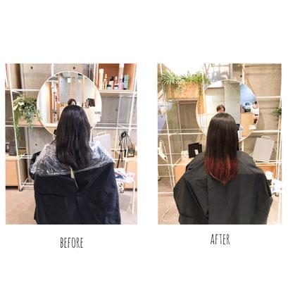 横浜 石川町 美容室 Grantus セミロング ロングスタイル グラデーションカラー インナーカラー ブリーチ 夏