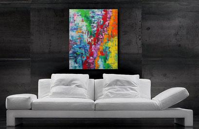Acrylbilder kaufen - Gemälde - farbenfroh - interessante Farbverläufe in Blau, Türkis, Grün, Rot, Orange, Gelb u. Lavendel