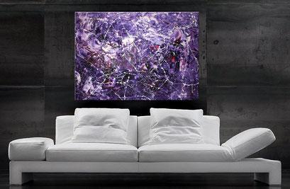 Acrylbild von wandbilderkunst.de, 80x80 cm, Interessante Farbverläufe in Blau, Türkis, Neapelgelb, Grün und Rot