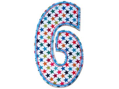 Bild: Geburtstagszahl 6, Aufbügler für Geburtstagsshirt, Geschenk zum 6. Geburtstag