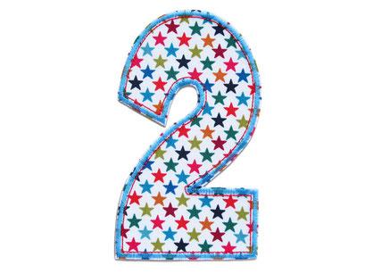 Bild: Geburtstagszahl 2 Aufbügler für Geburtstag, Geschenk zum zweiten Geburtstag