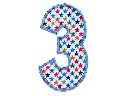 Bild: Geburtstagszahl 3, Zahl Applikation Aufbügler, Geschenk zum 3. Geburtstag