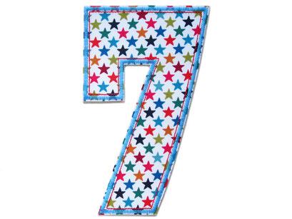 Bild: Geburtstagszahl 7, Zahl Applikation Aufbügler für Shirt, Geschenk zum 7. Geburtstag