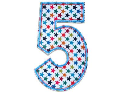 Bild: Geburtstagszahl 5 Aufbügler für Geburtstag, Geschenk zum fünften Geburtstag