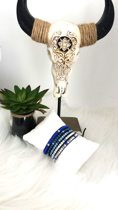 AZUR, bracelet cuir et perles bleues, bracelet femme, bracelet bohème