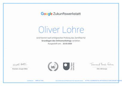 Urkunde von Google Zukunftwerkstatt als Zertifikat