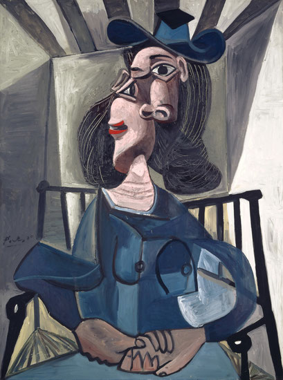 Mujer con sombrero sentada en un sillón, 1941. Óleo sobre lienzo 130x97cm. Kunstmuseum Basel.