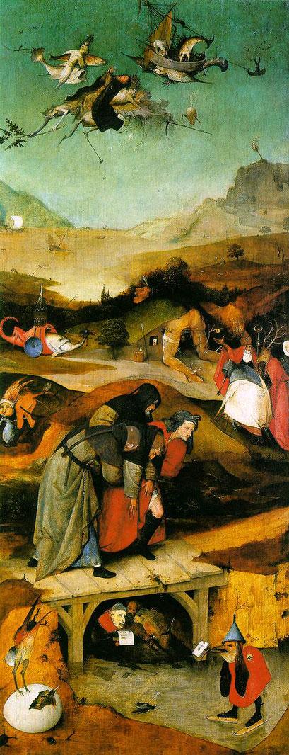 En la tabla izquierda los compañeros trasladan al santo tras caer inconsciente, golpeado por un demonio. Seres monstruosos encarnan las fuerzas del mal, pero que con la ayuda de Cristo lo superó todo.