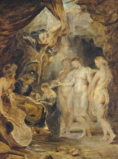 """Boceto.La educación de María de Médicis,1622.Óleo sobre tabla.49x39cm.Munich. María de Medicis quería 24 cuadros que decoraron la galería oeste del Palacio de Luxemburgo.Tenían que representar """"su muy ilustre vida y sus heroicas gestas""""."""