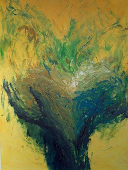 twee oprijzende donkerblauwe handen op een gele achtergrond, met uit de handen oprijzend een groene wervelende dynamiek