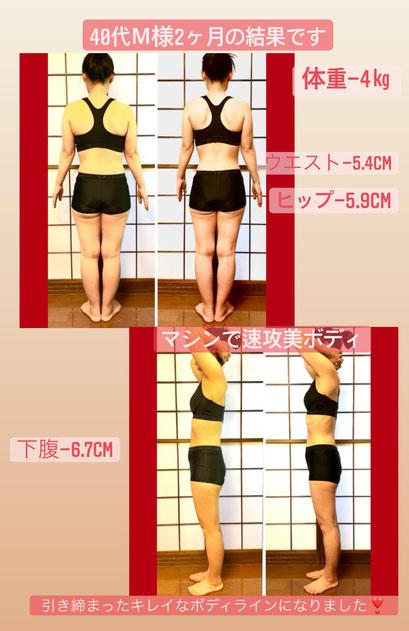 ダイエット&痩身 マシンで速攻美ボディ 40代主婦 2ヶ月の結果