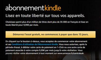abonnement kindle, livre gratuit, essai gratuit, lire ebook gratuit