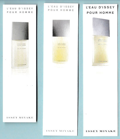 ISSEY MIYAKE : L'EAU D'ISSEY POUR HOMME - 3 CARTES DIFFERENTES : RECTO