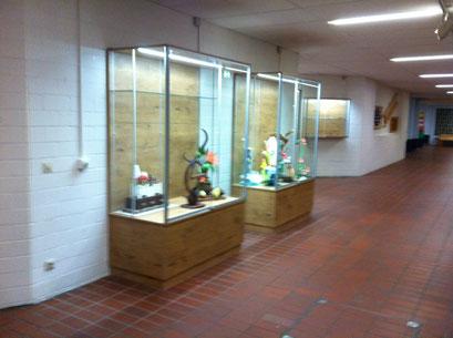 2 Ausstellungsvitrinen mit LED Beleuchtung, Eiche Dekor Unterschrank und Rückwand. Glasböden über die halbe Tiefe.