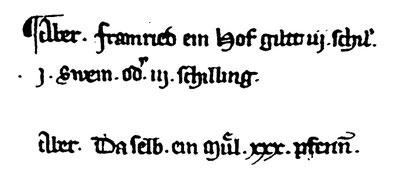 Urkundenausschnitt von 1301 mit Erwähnung der Mühle (3. Zeile)-Bay HStA. Kurbayern Äuß. Archiv 4745 (1)