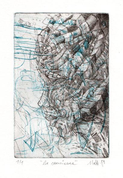 La Soucieuse I / Eau forte & Pointe sèche sur zinc / 10 x 15 cm / exemplaire unique / 2 couleurs / 2016