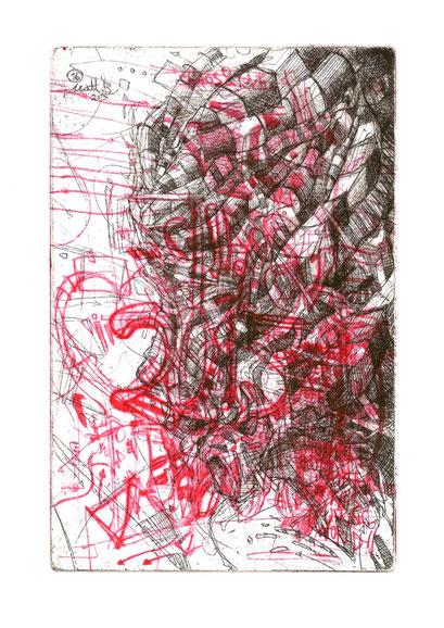 La Soucieuse II / Eau forte & Pointe sèche sur zinc / 10 x 15 cm / exemplaire unique / 2 couleurs / 2016