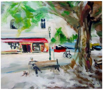 Unter dem Baum vorm Nah Kauf  im Sommer . 36 x 30,5 cm Acryl auf Leinwand  .