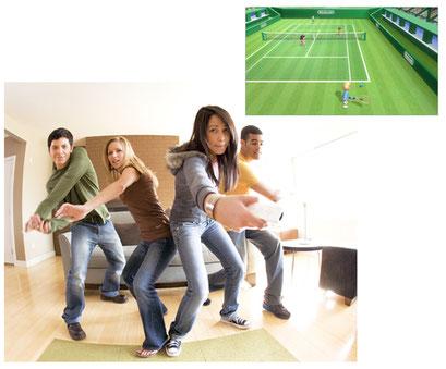 Un grupo de amigos juega con la consola de 7ª generación, Wii
