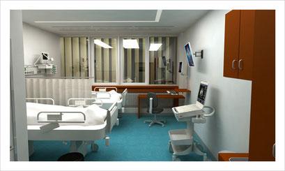 Patientenzimmer, 2 Betten
