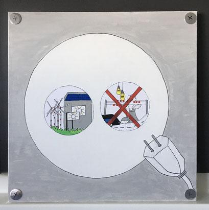 Ein Ausstellungsexponat zum Thema Bezahlbare und saubere Energien (Ziel 7 der Agenda 2030) von Desirée Setz, Mathias Schenker und Mirjam Blum.
