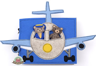 Spielbuch, Quiet book, Activity book, Flugstory mit Teddy, Teddybuch, Nähanleitung