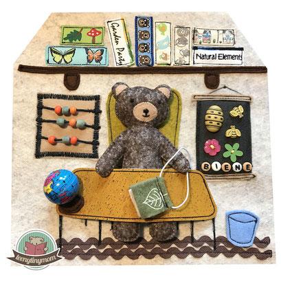 Teddyhaus Quiet book Spielhaus Teddy Nähanleitung Arbeitszimmer outdoor