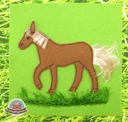 Spielbuch nähen Fühlbuch Pferd Activity Buch