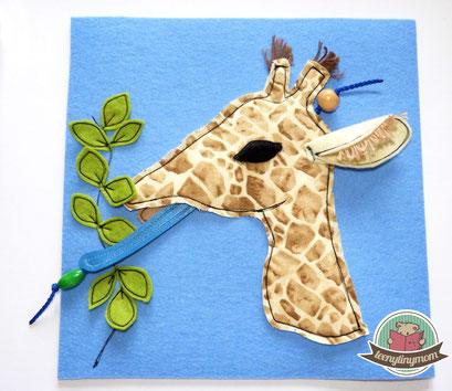 Fühlbuch Quiet book Tasten Montessori Giraffe Nähanleitung Schablone kostenlos freebook